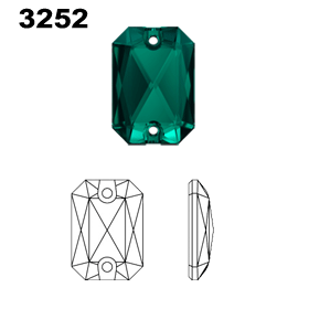 Swarovski 3252 Emerald Cut Sew On Crystals