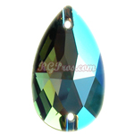 Swarovski 3230 Erinite Shimmer Pear (Drop) 12x7mm Sew On Flatback Rhinestone