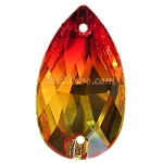 Swarovski 3230 Fire Opal Pear (Drop) 28x17mm Sew On Flatback Rhinestone