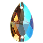 Swarovski 3230 Light Colorado Topaz Shimmer Pear (Drop) 12x7mm Sew On Flatback Rhinestone
