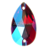 Swarovski 3230 Light Siam Shimmer Pear (Drop) 18x10.5mm Sew On Flatback Rhinestone