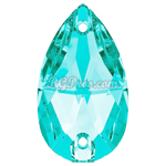 Swarovski 3230 Light Turquoise Pear (Drop) 12x7mm Sew On Flatback Rhinestone