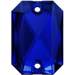 Swarovski 3252 Majestic Blue Emerald Cut 14x10mm Sew On Flatback Rhinestone