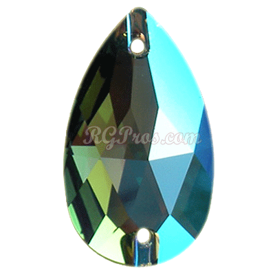 Swarovski 3230 Erinite Shimmer Pear (Drop) 18x10.5mm Sew On Flatback Rhinestone